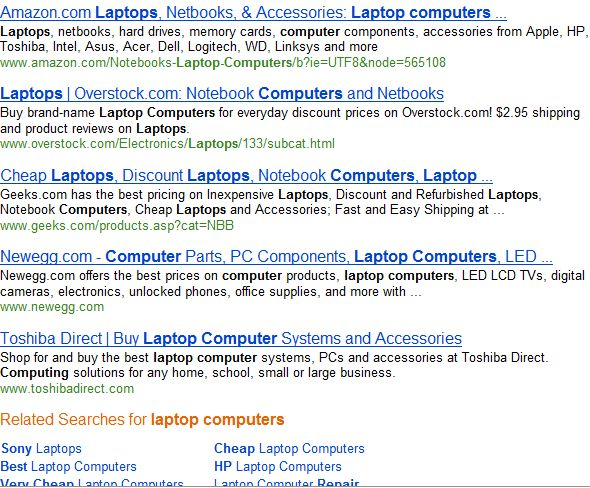 Bing search results for overstock on laptop computers