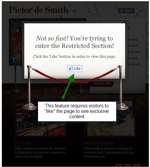 Facebook Like gate feature of Pagemodo