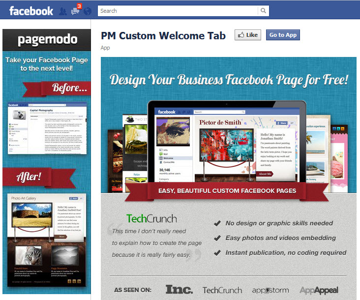 PM Custom Welcome Page by Pagemodo
