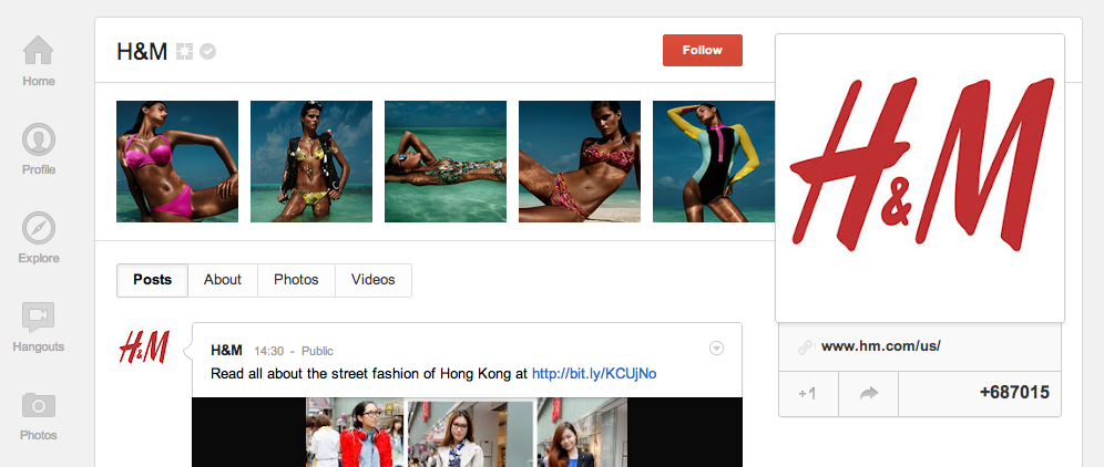 H&M Google+ Business Page