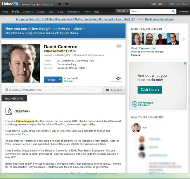 LinkedIn 3rd level profile visible