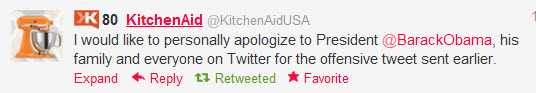 kitchenaid obama apology KitchenAid   Bad Tweets Happen to Good Brands Who Dont Manage Social Media Risk Properly