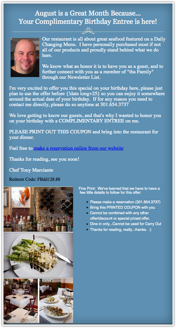 An email by Chef Tony, featuring delicious dishes