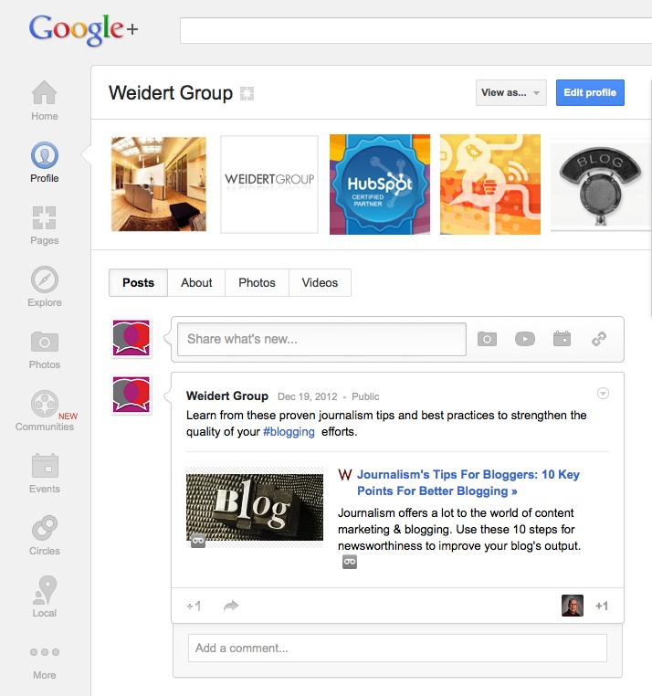 Weidert Group Google+ Profile clean and easy to use
