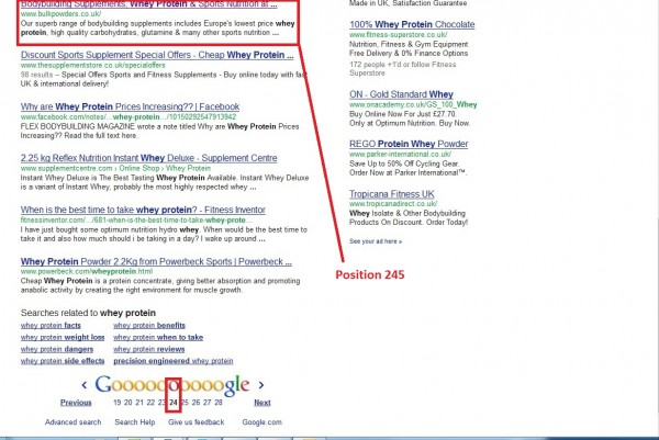 position 245 in Google