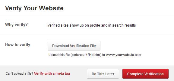 Pinterest Verify Website 3