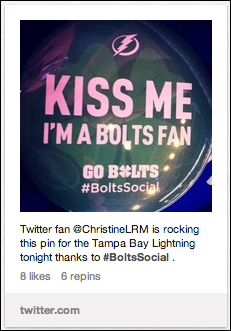 The NHL uses hashtags to interact with their 1.3 million followers on Pinterest