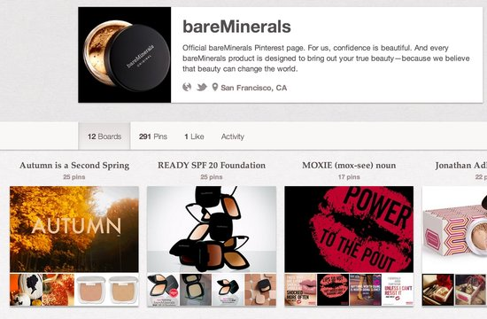 Bare Minerals Pinterest Account