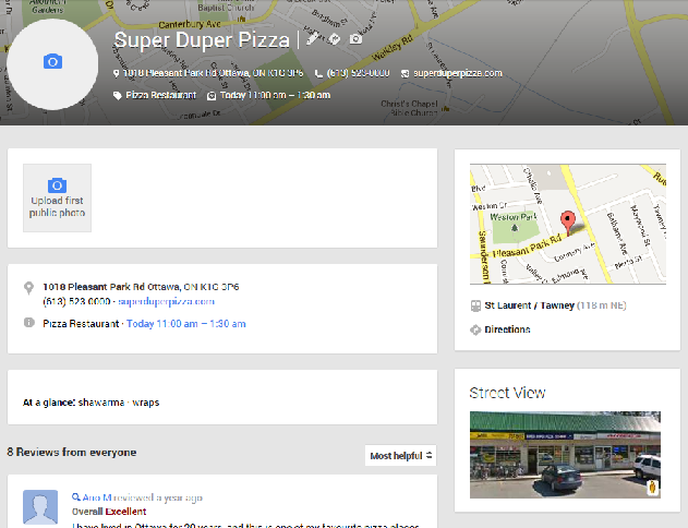 Google  Places for business listing detail
