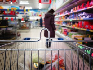 Grocery aisle from shopping cart