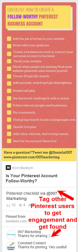 Pinterest Tag Other Users