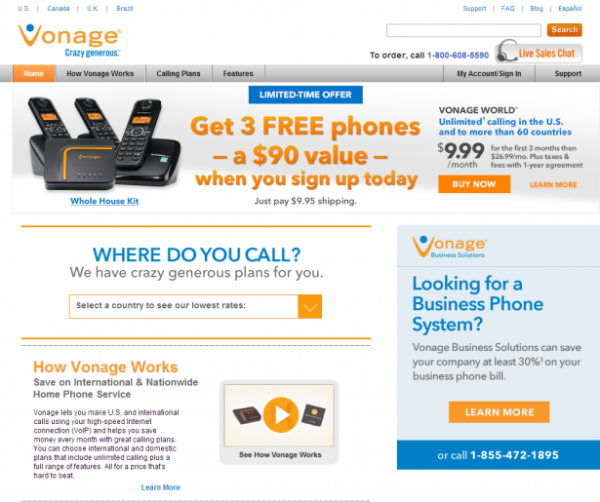 vonage call-to-action