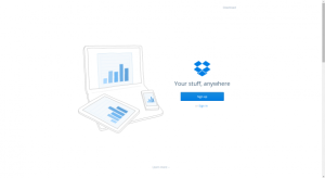 dropbox homepage call-to-action